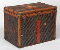 Goyard travel trunk, 22''h, 27-1/2''w, 18''d; wear,