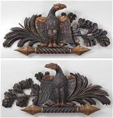 Pair of 19th century carved gilt wood eagles, 14''h,