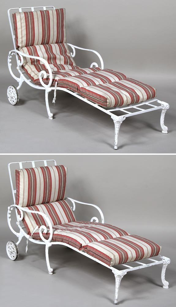 of 2 cast aluminum lounge chairs by molla each