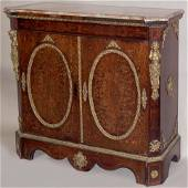 Boulle inlaid marble top credenza with figural bronze