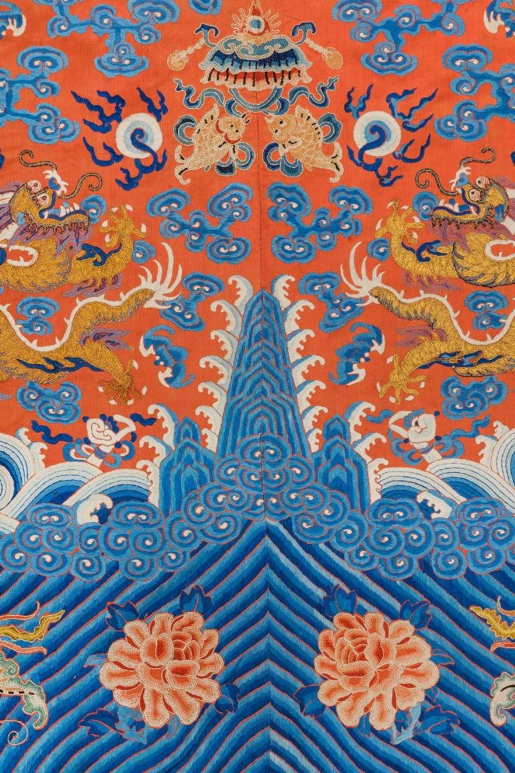 An Embroidered Red Silk Dragons Dress, China, Qing - 10