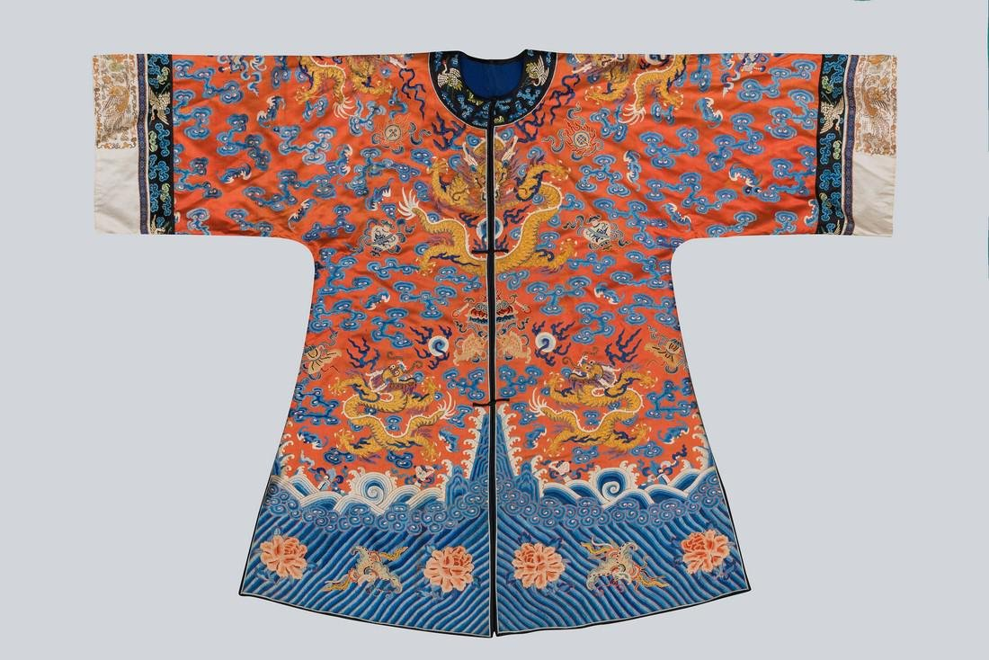 An Embroidered Red Silk Dragons Dress, China, Qing