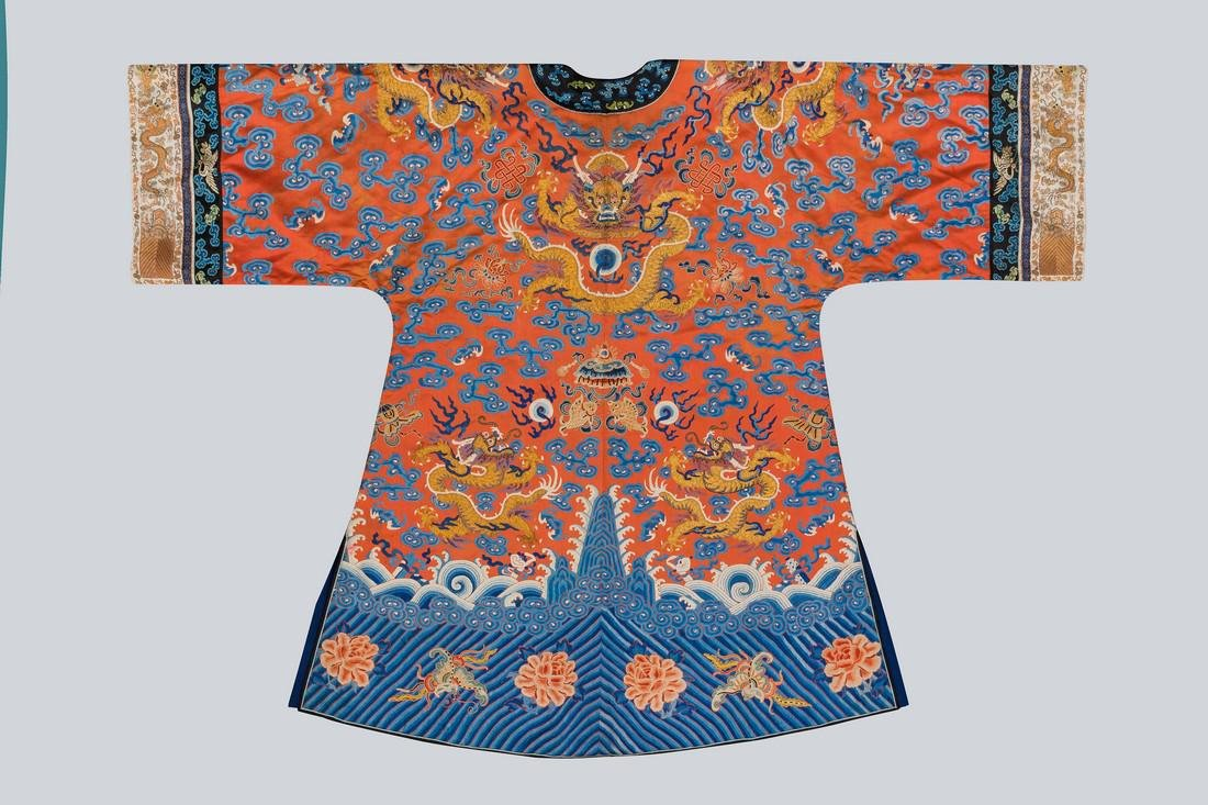 An Embroidered Red Silk Dragons Dress, China, Qing - 2