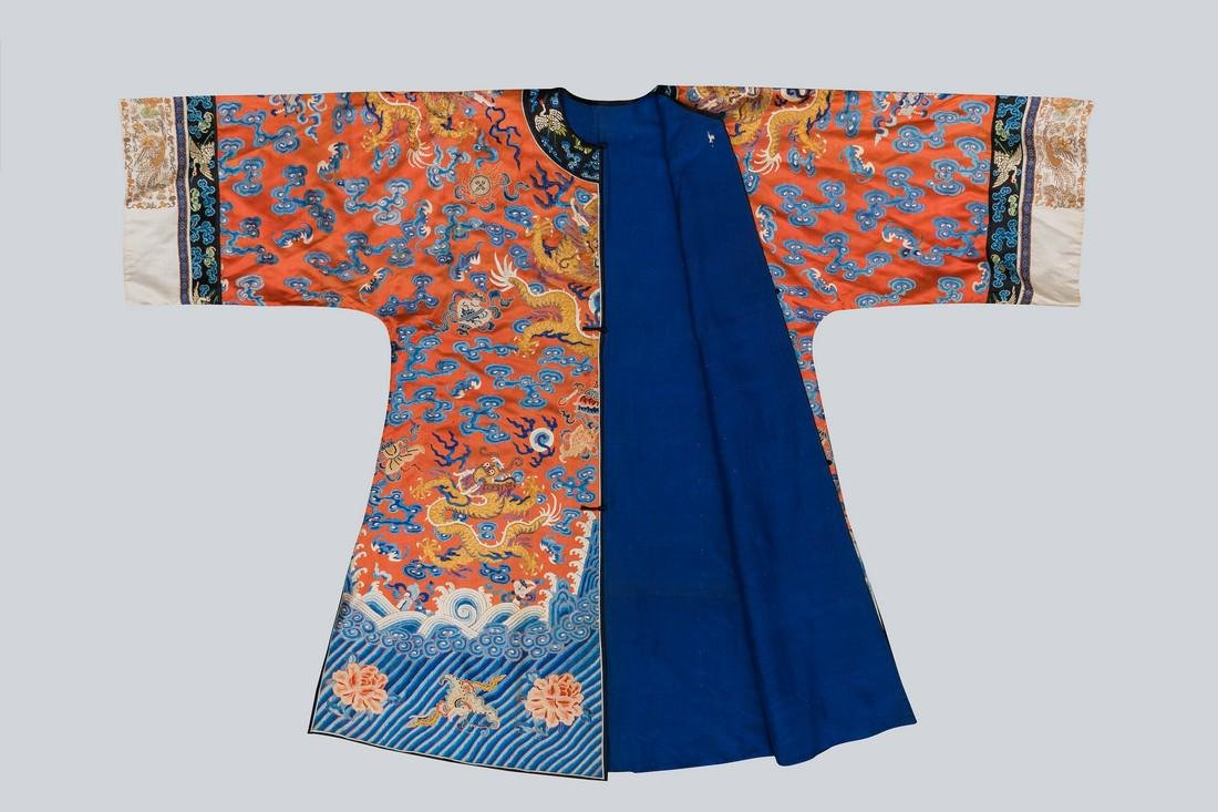 An Embroidered Red Silk Dragons Dress, China, Qing - 3