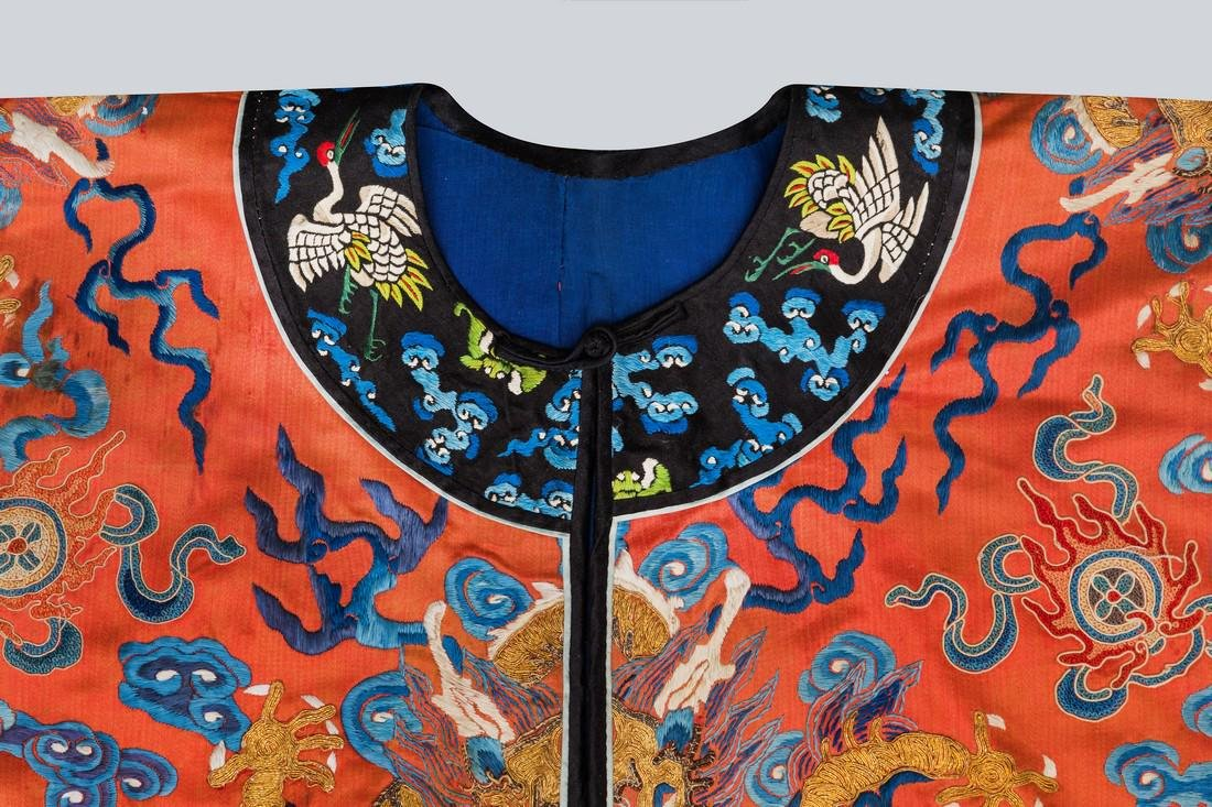 An Embroidered Red Silk Dragons Dress, China, Qing - 4