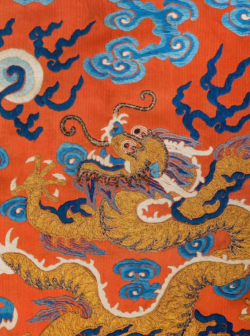 An Embroidered Red Silk Dragons Dress, China, Qing - 5