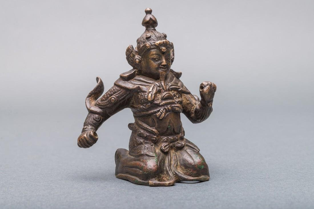 A Patinated Bronze Figure of Warrior, China, Ming