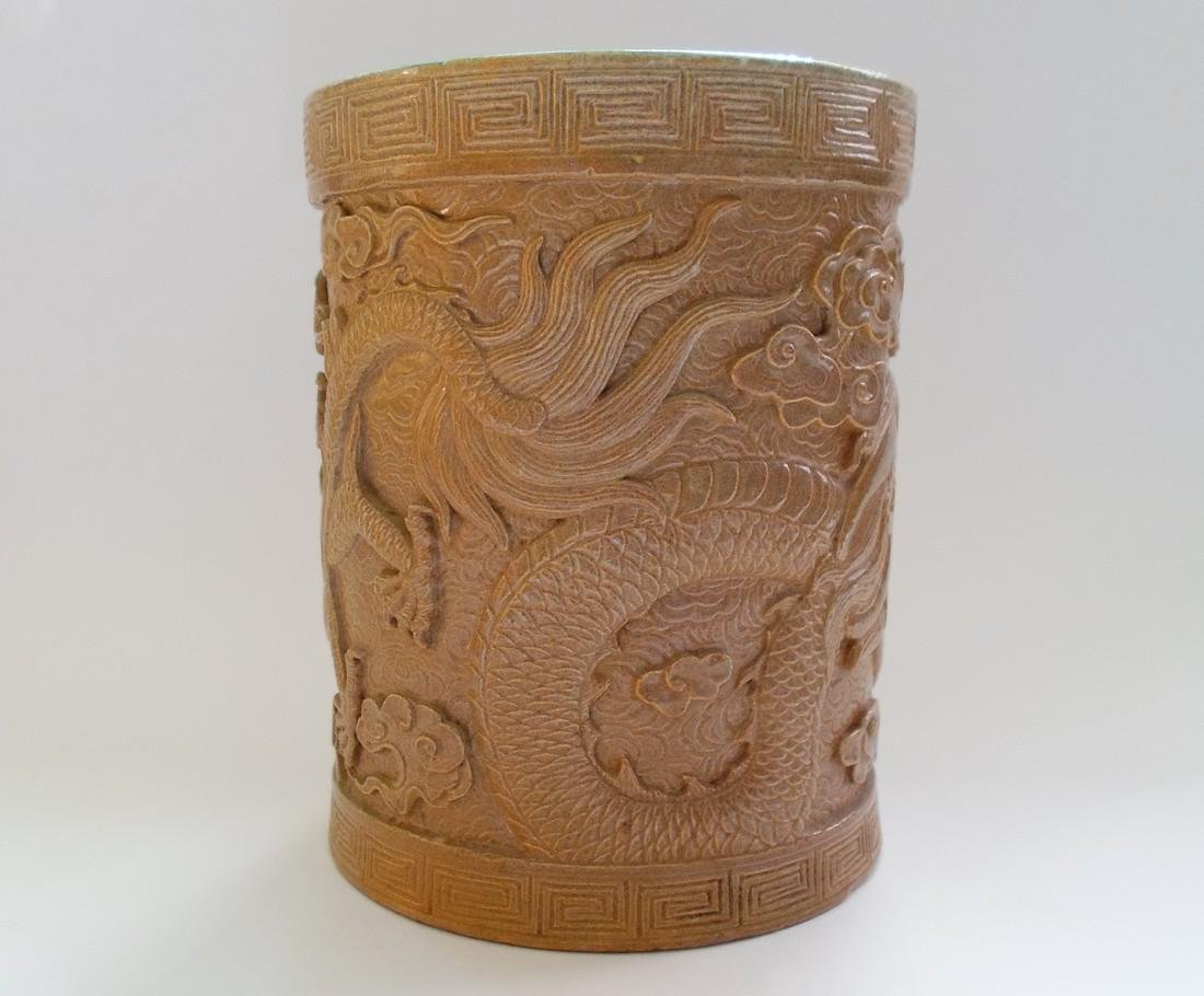 A Chinese Glazed Pottery Brush Pot Decorated With a - 2