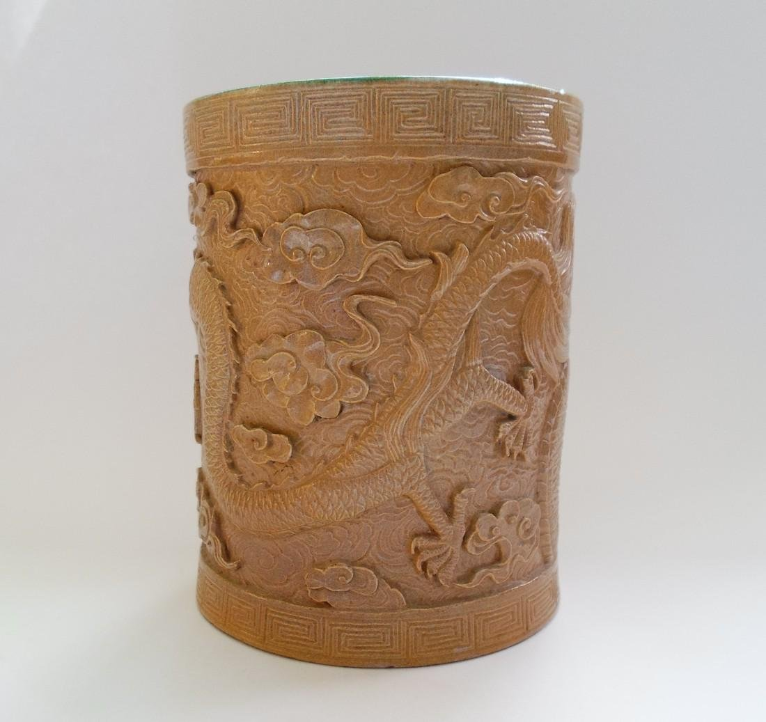 A Chinese Glazed Pottery Brush Pot Decorated With a - 3