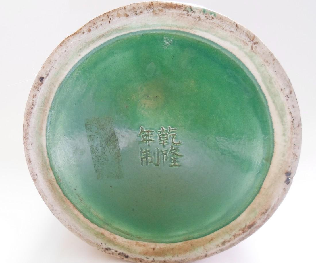 A Chinese Glazed Pottery Brush Pot Decorated With a - 4