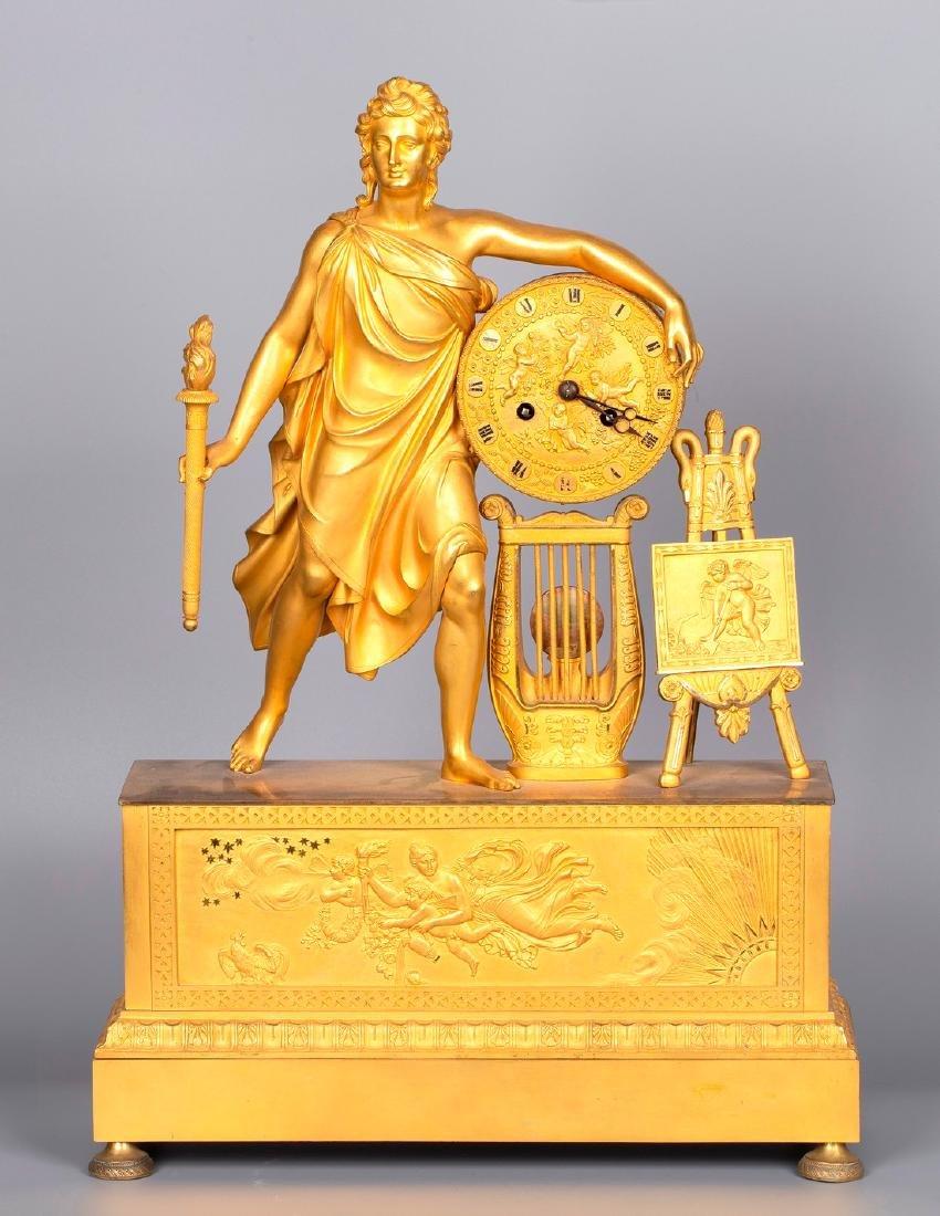 A Figurative Gilt Bronze Mantel Clock by Vishnevsky