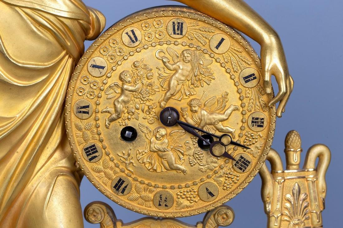 A Figurative Gilt Bronze Mantel Clock by Vishnevsky - 3