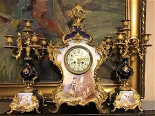 An Ormolu Mounted Porcelain Mantel Clock And Matching