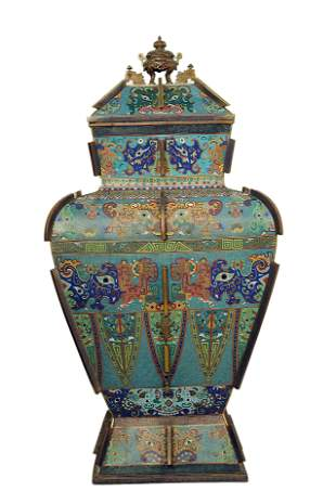 A Chinese Imperial Cloisonne Enamel Vase And Cover,