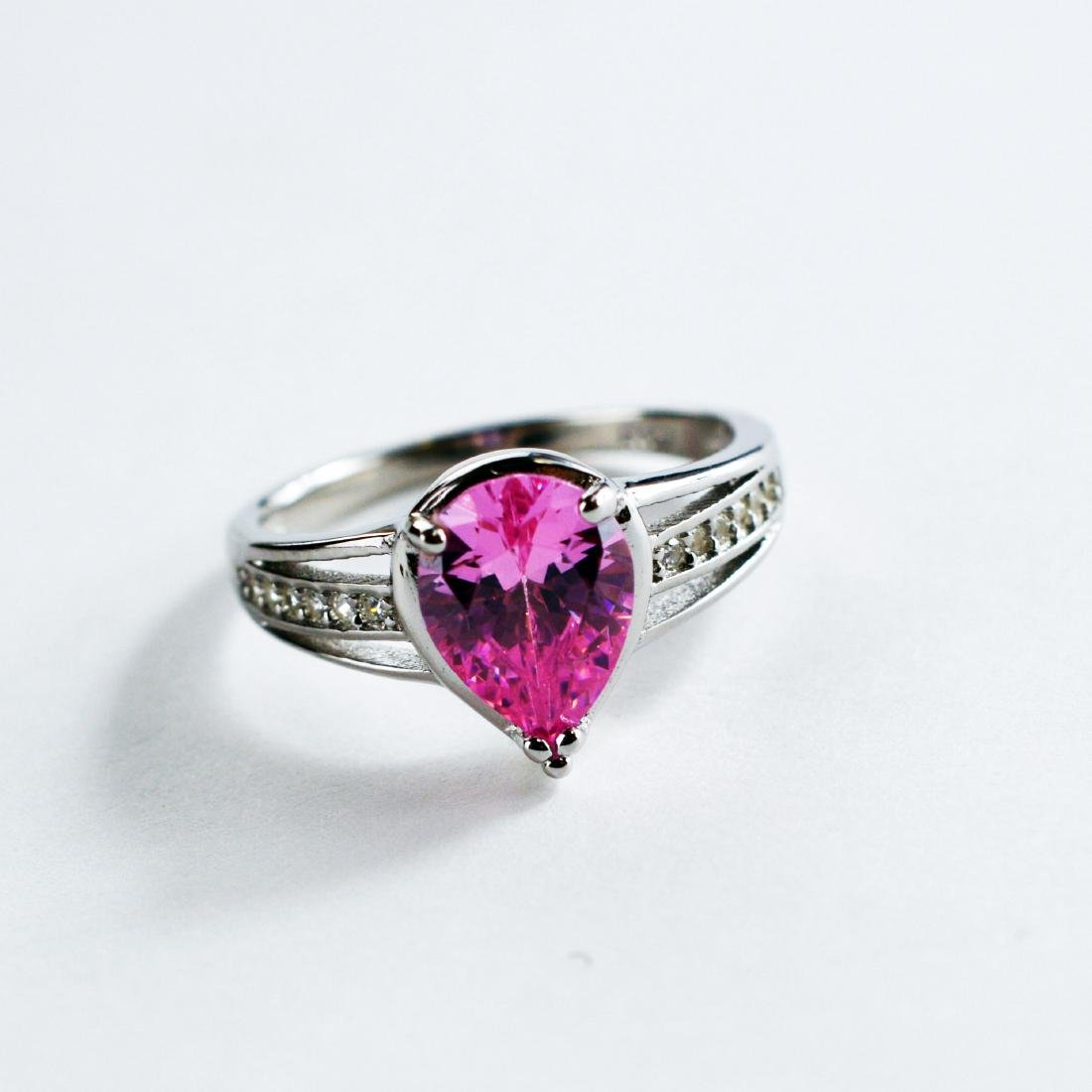 Pink pear shape stone ring