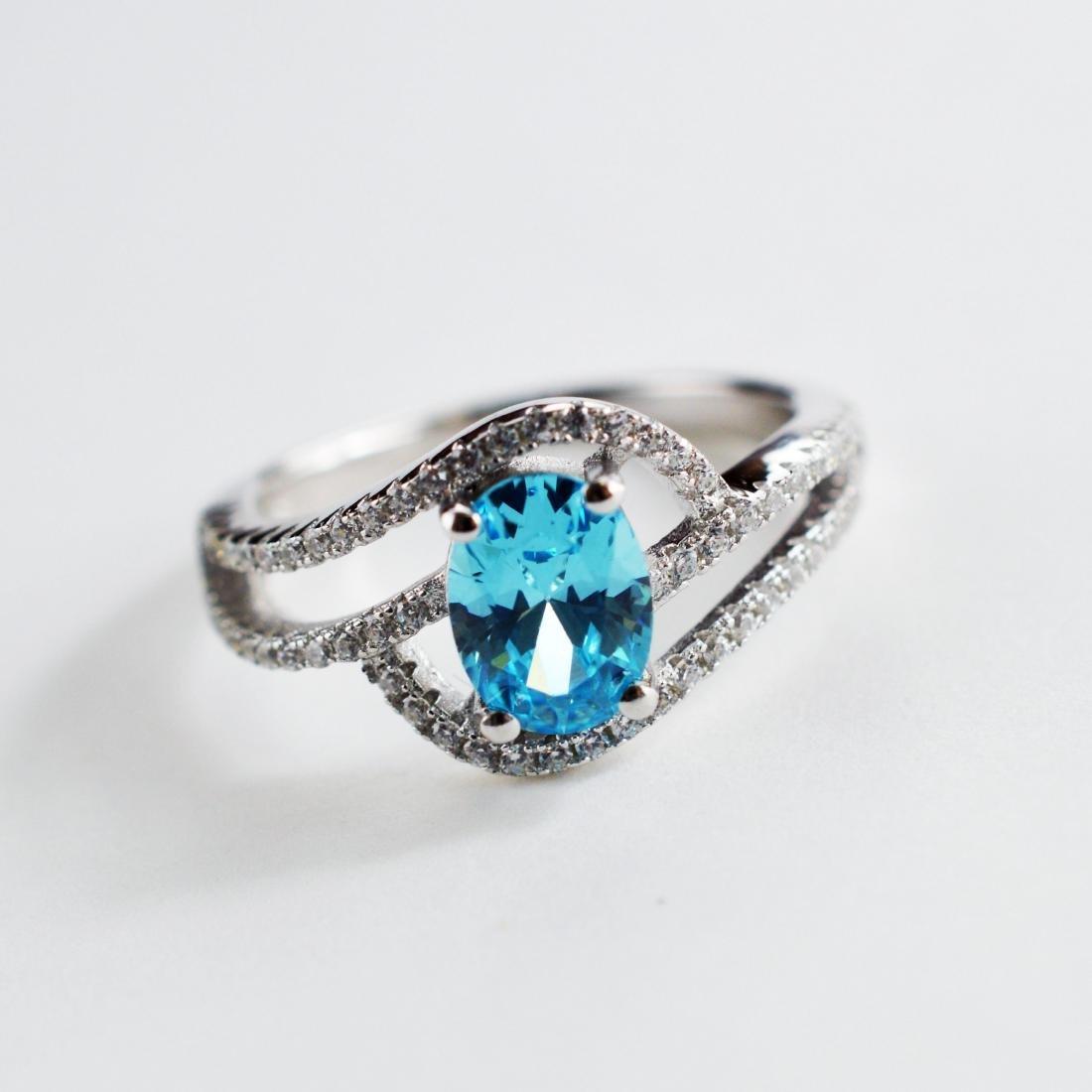Aquamarine color stone ring