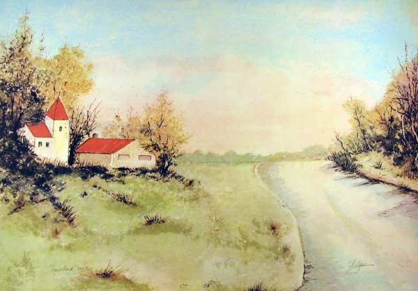5010: Fuja Barn Landscape Signed & Numbered Huge Piece