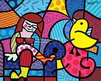 5525: Romero Britto Serigraph Pencil Signed & Numbered