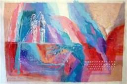 5874: Calman Shemi Original Oil on Canvas Painting Isra