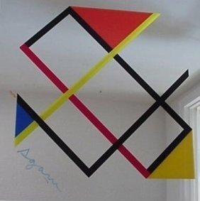 """7002: Agam """"Le Mondrian"""" Art on Mirror Signed & Numbere"""