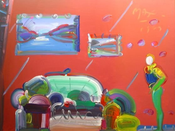"3363: Peter Max 48 X 36"" Acrylic On Canvas $49K Retail"