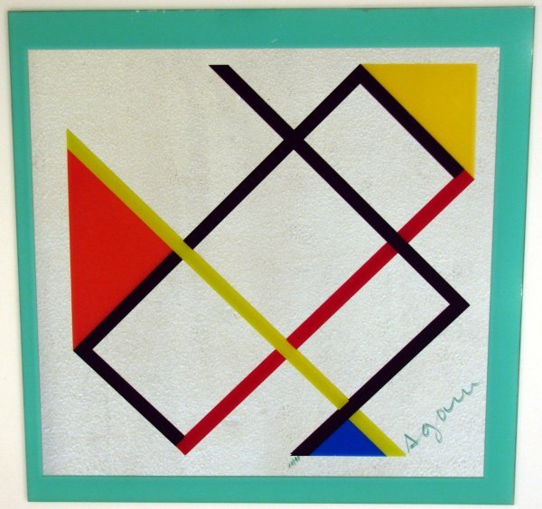 """102: Agam """"Le Mondrian"""" Art on Mirror Signed & Numbered"""