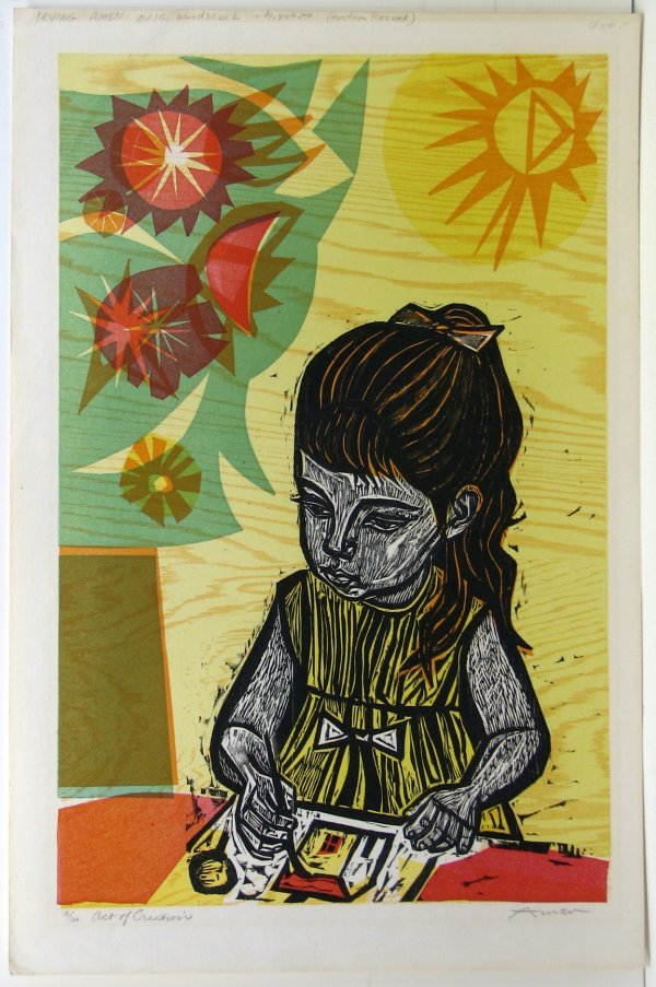 114: Irving Amen Woodblock Pencil Signed & Numbered
