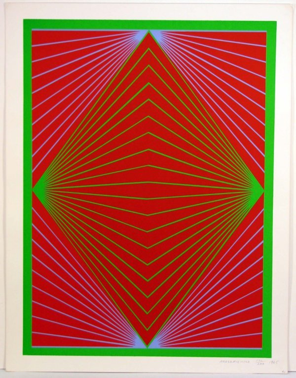 1008: Richard Anuszkiewicz 1965 Sreigraph OP Art Sign/N