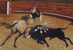 P.M. Boyle Bull Fight Signed & Numbered