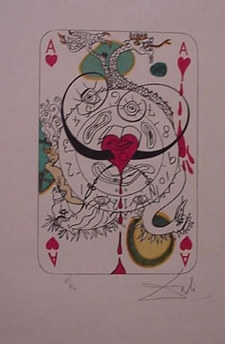 4232: Dali Ace of Hearts Playing Card Signed & Numbered