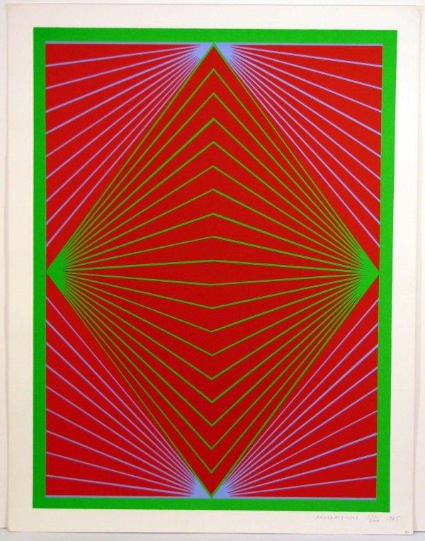 2012: Richard Anuszkiewicz 1965 Sreigraph OP Art Sign/N