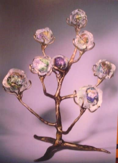 5521: Tim Landers Bronze & Glass Tree Sculpture