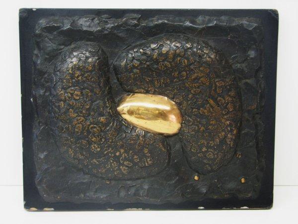 3502: Douglas Abdell Bronze on Wood Wall Sculpture Circ