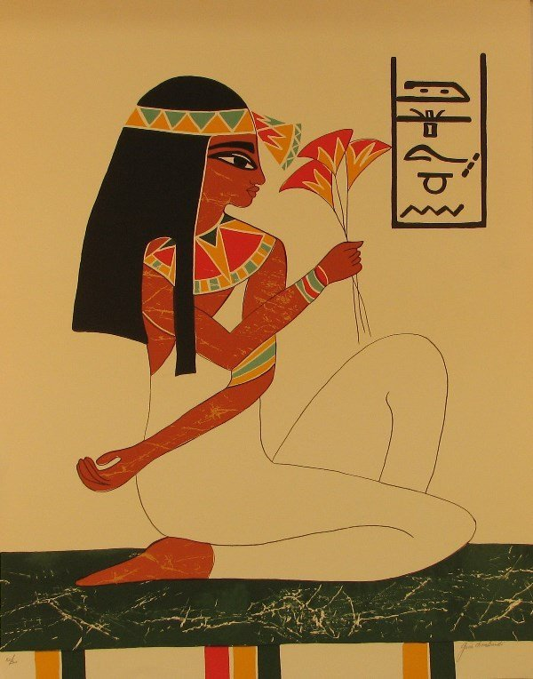4417: Gina Lombardi Egyptian Lithograph Pencil Signed &