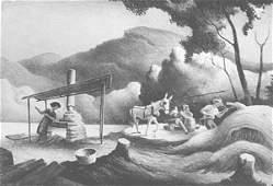 4142: Thomas Hart Benton Lithograph Pencil Signed