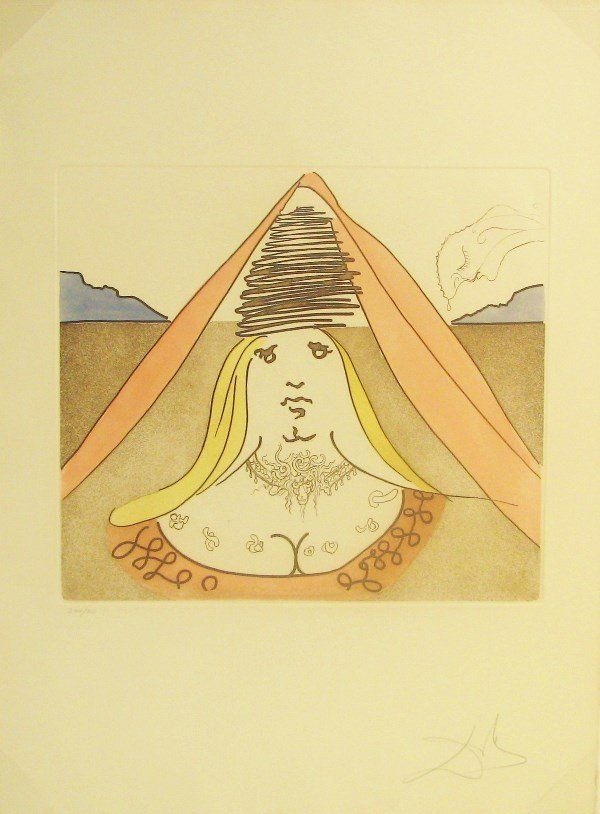 4231: Salvador Dali Etching Aquatint Pencil Signed & Nu