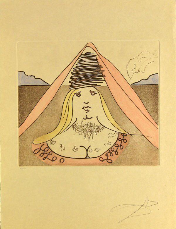 5116: Salvador Dali Etching Aquatint Pencil Signed & Nu