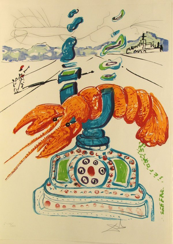 5126: Salvador Dali Lobster Telephone Pencil Signed & N