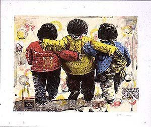 5287: Hung Liu Lithograph Signed & Numbered Chinese Com