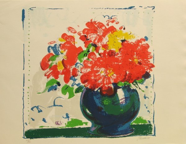 5618: Bauer Flowers in Vase Lithograph Signed & NUmbere