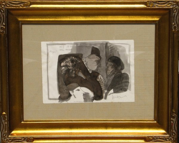 55: Jose Luis Cuevas Ink on Paper Mexican Art