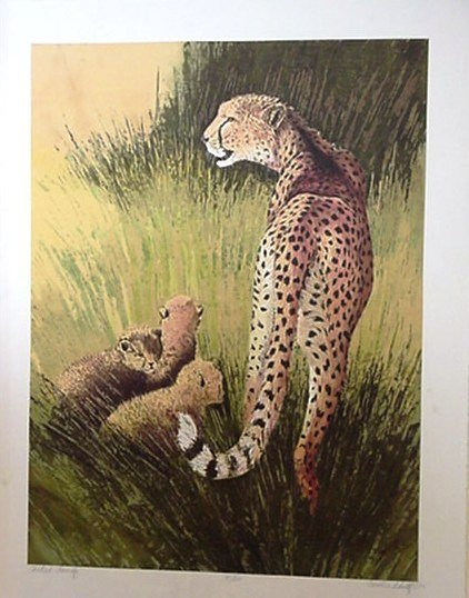116: Caroline Schultz Cheetah Family Signed & Numbered
