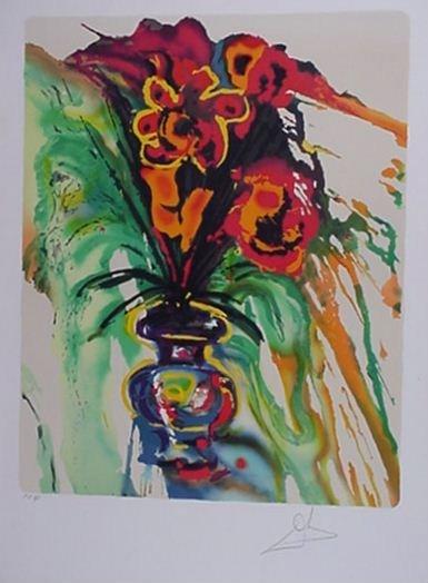 177: Dali Surrealist Flowers 2 Piece Suite Signed & Num