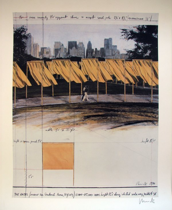 1460A: Christo Gates Central Park New York Pencil Signe