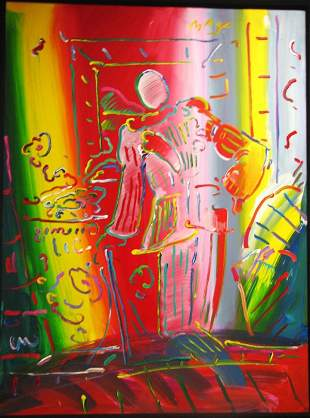 1647: Peter Max Original Painting on Canvas 48 X 36 inc