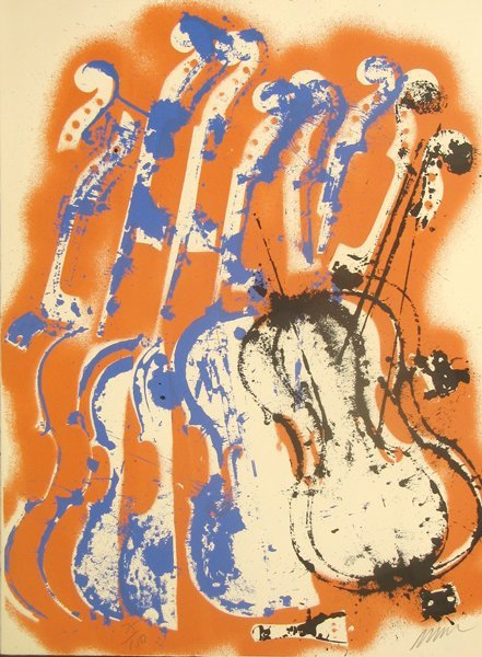 1015: Arman Violins Lithograph Pencil Signed & Numbered