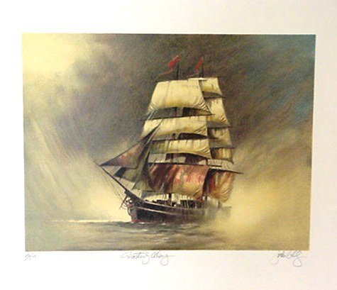 522: John Telly Sailing Ship Pencil Signed & Numbered