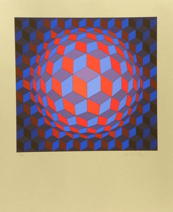 2387: Victor Vasarely Serigraph Pencil Signed & Numbere