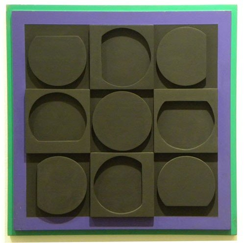 3665A: Victor Vasarely Acrylic and Wood Relief Wall Scu