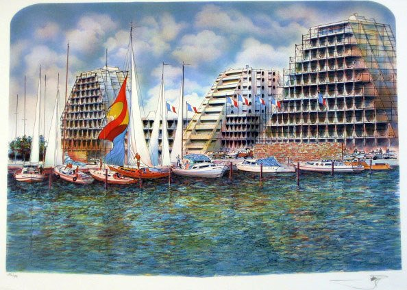 604: Unknown Artist Boats Lithograph Signed & Numbered